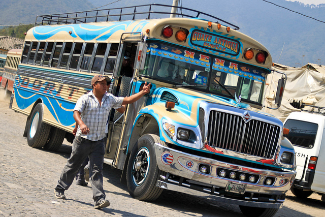 Bob LaGarde - Road trip through Central America - Chicken buses are everywhere!