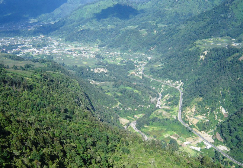 Bob LaGarde - Road trip through Central America - View from dizzing heights looking down on Quetzaltenango